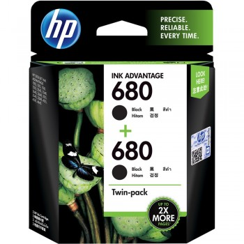 HP 680 Black Ink Cartridge Twin 2-Pack