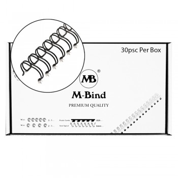 "M-Bind Double Wire Bind 2:1 A4 - 1-1/4""(32mm) X 23 Loops, 30pcs/box, Black"
