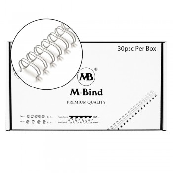 "M-Bind Double Wire Bind 2:1 A4 - 1-1/2""(38mm) X 23 Loops, 30pcs/box, White"