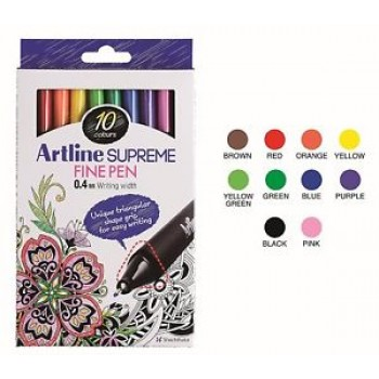 Artline SUPREME FINE PEN 0.4mm 10col EPFS-200/10W