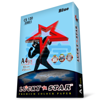 Lucky Star CS120 Blue A4size 450sheets 80gsm Premium Colour Paper