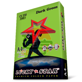 Lucky Star CS230 Dark Green A4size 450sheets 80gsm Premium Colour Paper