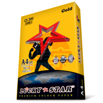 Lucky Star CS200 Gold A4size 450sheets 80gsm Premium Colour Paper