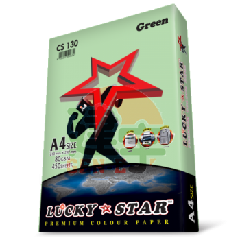 Lucky Star CS130 Green A4size 450sheets 80gsm Premium Colour Paper
