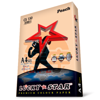 Lucky Star CS150 Peach A4size 450sheets 80gsm Premium Colour Paper