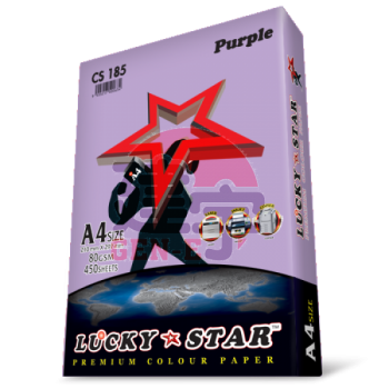 Lucky Star CS185 Purple A4size 450sheets 80gsm Premium Colour Paper