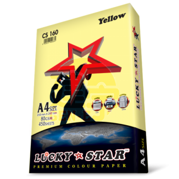 Lucky Star CS160 Yellow A4size 450sheets 80gsm Premium Colour Paper
