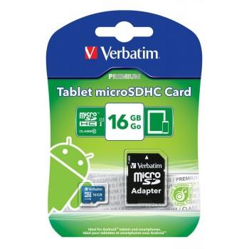 Verbatim Premium Class10 Tablet microSDHC Card 16GB #44043 1309-806