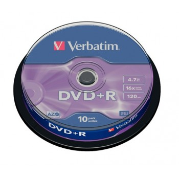Verbatim DVD+R 4.7GB/GO 16X 10/pack #43498