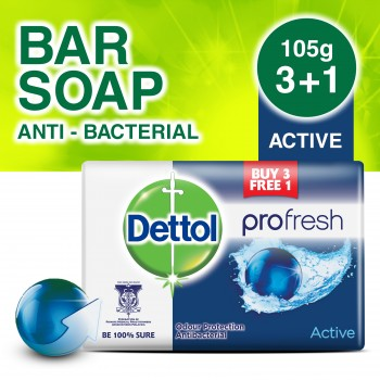 Dettol Body Soap Active 105g 3+1(free)