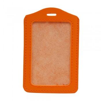 Leather Name Tag Potrait Orange (54x85mm)