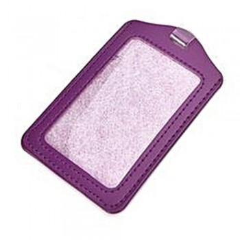 Leather Name Tag Potrait Purple (54x85mm)