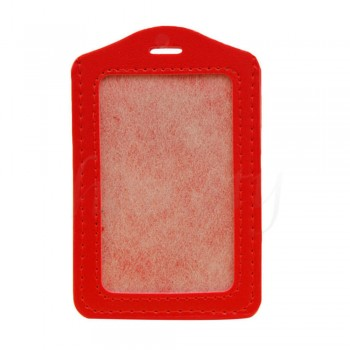 Leather Name Tag Potrait Red (54x85mm)